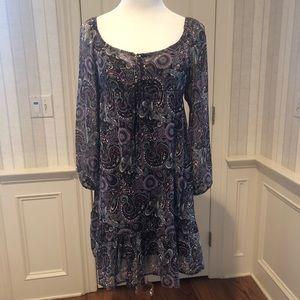 Purple Paisley Print Dress -  Size M